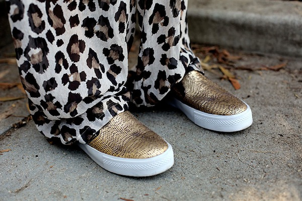 gold slipons