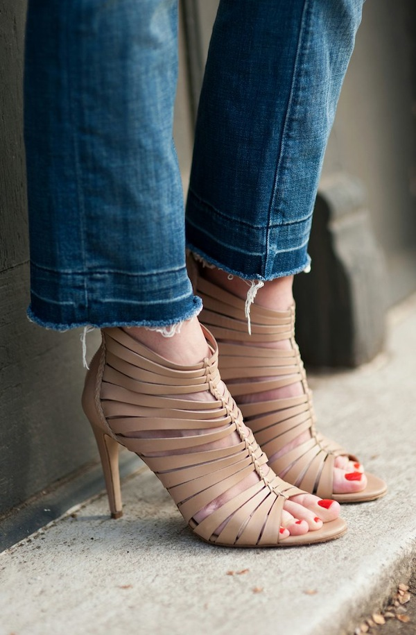 cropped and frayed jeans