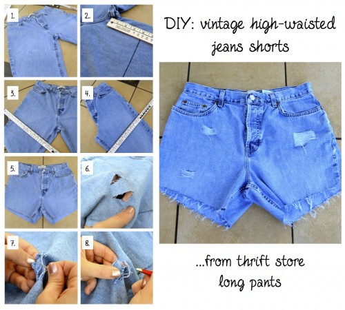 How To Make High Waisted Shorts Out Of Jeans - The Else