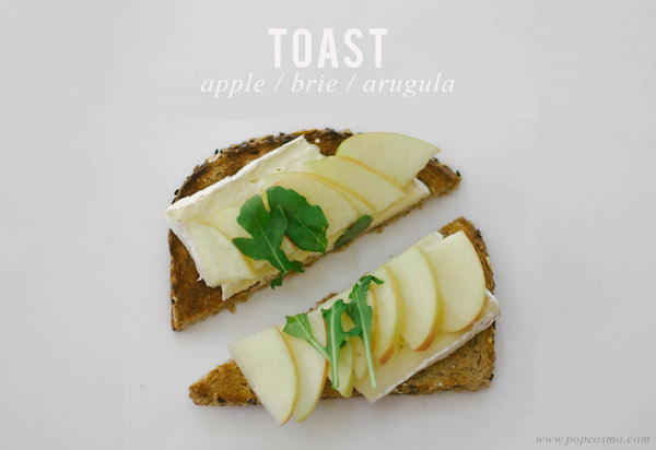 apple brie and arugula toast