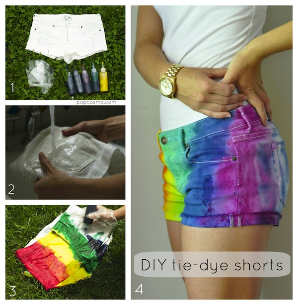 how to make tie-dye shorts