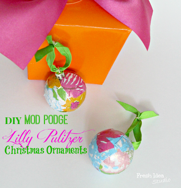 DIY Lilly Pulitzer ornament on Popcosmo