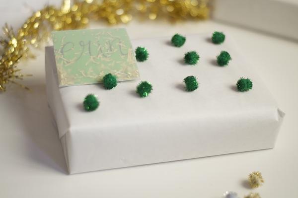green pompom gift wrap