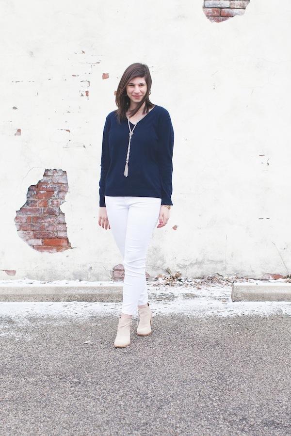Bauble Bar & Everlane sweater