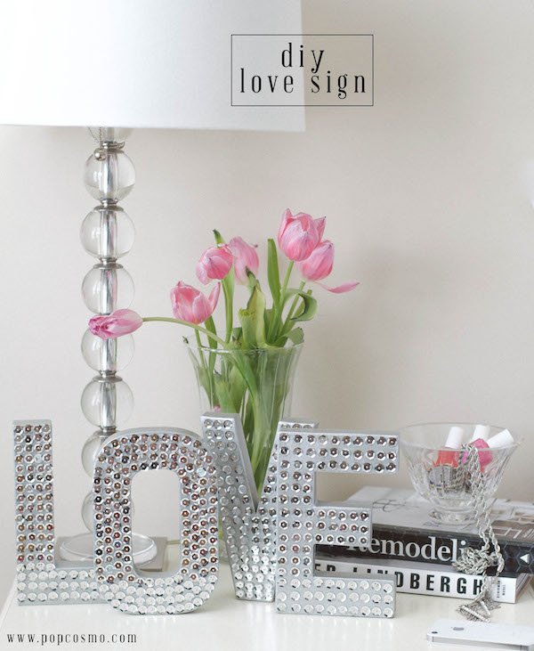 DIY Disco Sequin Love Sign | popcosmo.com