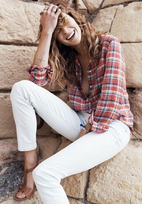 white jeans plaid shirt