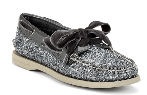 silver sparkle women's boat shoes