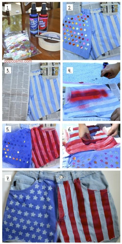 DIY American Flag jean shorts