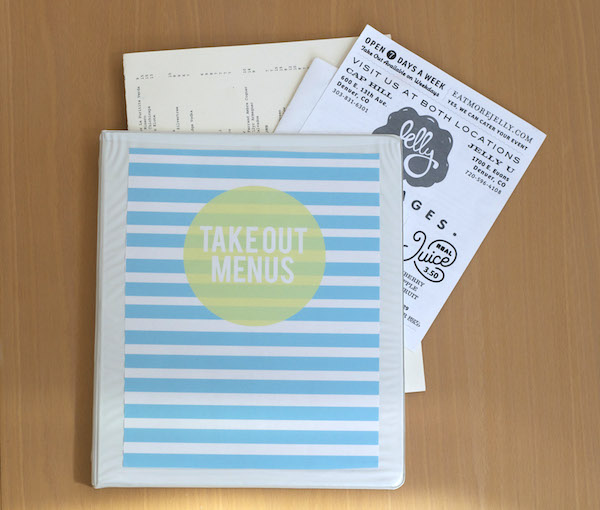 downloadable binder slip for takeout menus