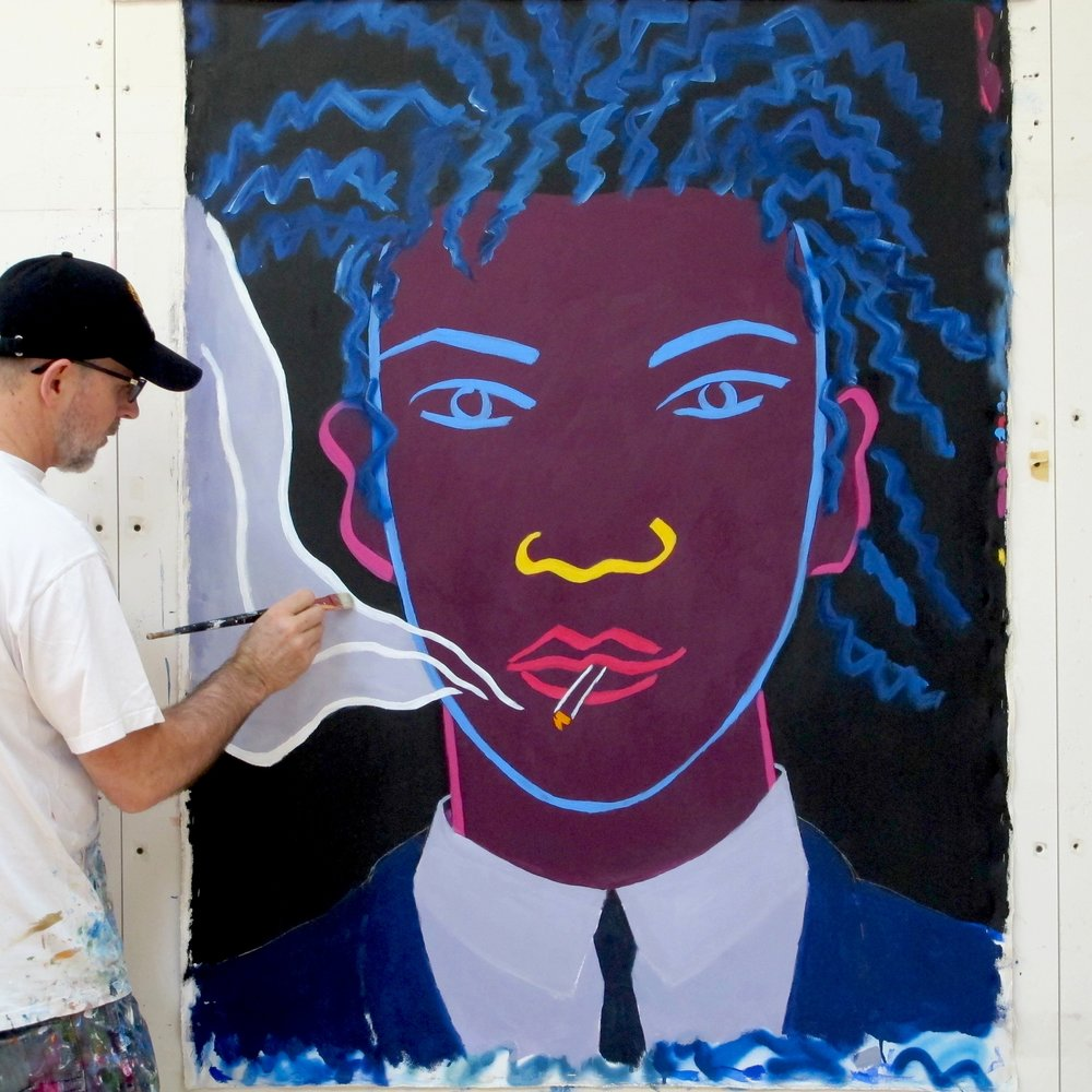 "1985 Robert Fraser introduces Elwes to Jean Michel  Basquiat as ""the first British graffiti artist"""
