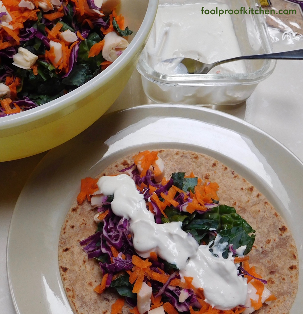 Ancient grains tortilla with salad and cashew cream