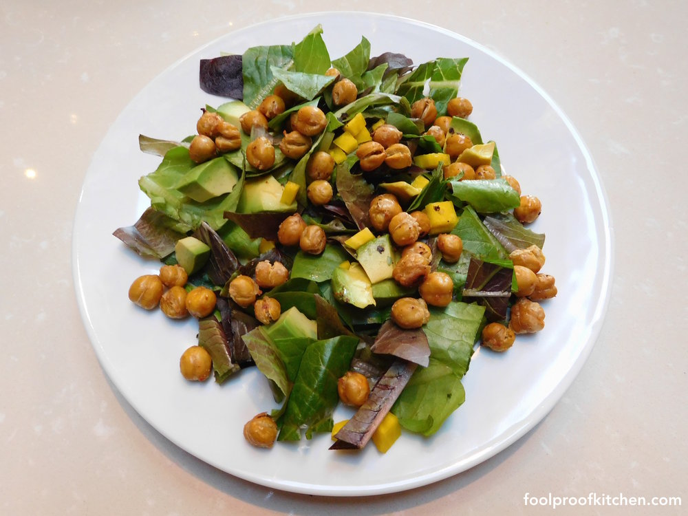 Simple Salad + Chickpea Croutons