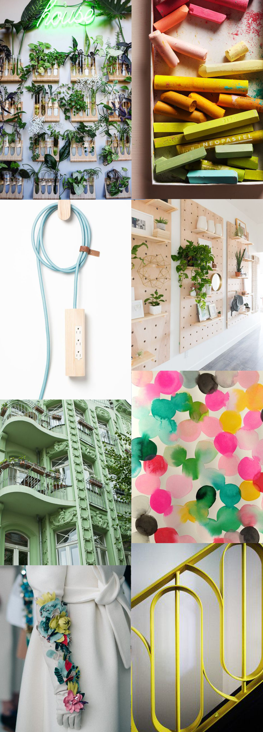 plant wall, pastels, extension cord, pegboard, building, dots, floral glove, stairs