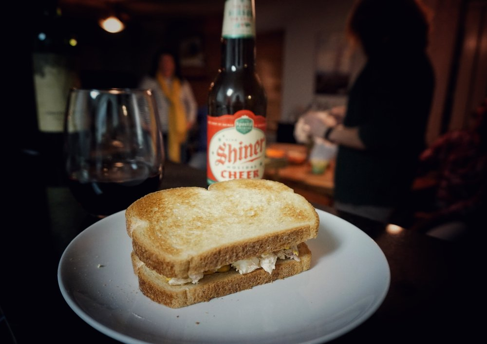 Tuna salad and Shiner Cheer. Photo credit: Rebecca Murphy.