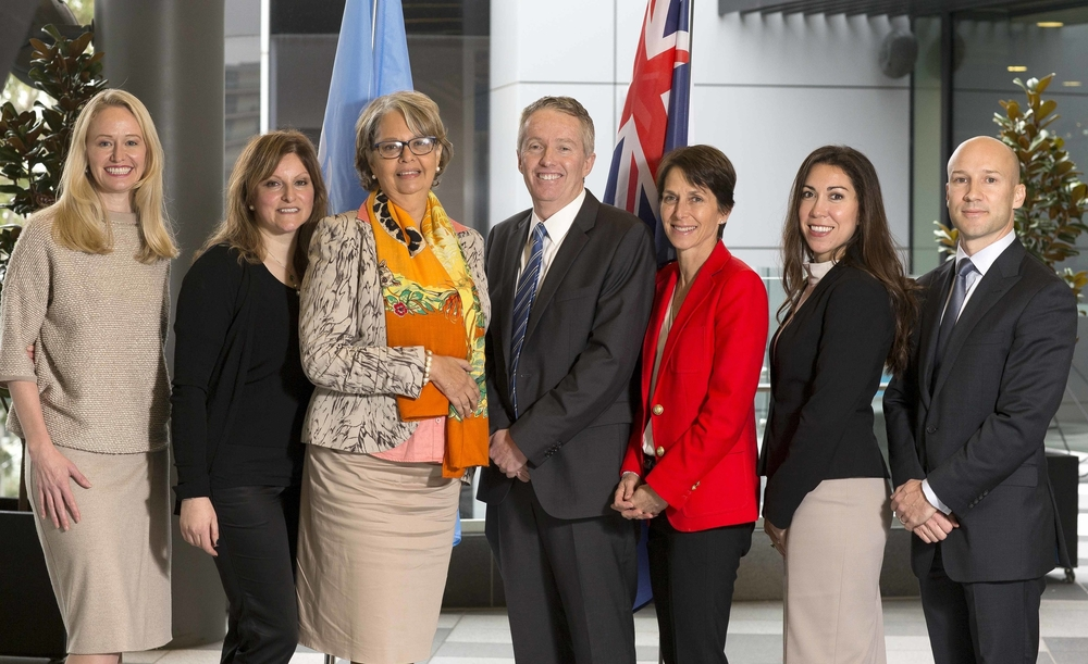 From left Ainslie Van Onselen (Westpac's Director of Women's Markets, Inclusion and Diversity), Freda Miriklis (amge+ Advisory), Patricia Francis (UN Secretariat Representative), Craig Tiley (Tennis Australia CEO), Jayne Hrdlicka (Jetstar Group CEO), Tammy Medard (ANZ Institutional Banking), and Andrew Medard (amge+ Advisory)
