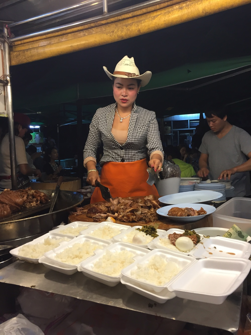 Chiang Mai is said to have the best food in Thailand, although every region would argue, I would not. This is the famous Cowboy Lady. She serves up some great street food. Thanks Mr. Bourdain for the recommendation.