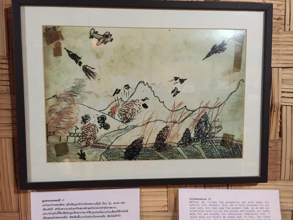 A Laos chid's drawing of their village during the secret bombing missions.