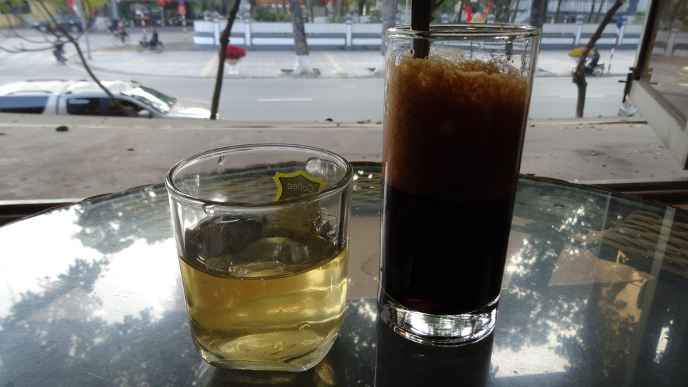 There maybe more Cafés in Hanoi than in Paris.  The coffee in Vietnam is some of my favorite. It's slightly sweet and chocolatey. You can get it many different ways, but usually iced, either black (cà phê phin) or with sweetened condensed milk (Cà phê sữa da).   Quick fact: Vietnam is the worlds second leading exporter of coffee.