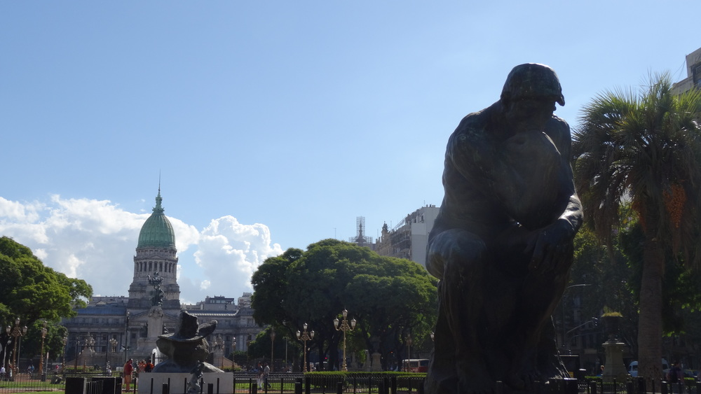 The Thinker, situated at Congressional Plaza. It's one of twelve copies in the world.