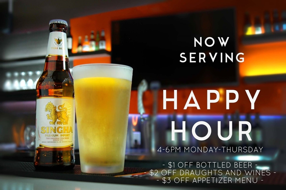FROM 5-9PM TUESDAY-THURSDAY.    - $1 OFF BOTTLED BEER - - $2 OFF DRAUGHTS AND WINES -    FROM 5-6PM TUESDAY-THURSDAY   - $3 OFF APPETIZER MENU -