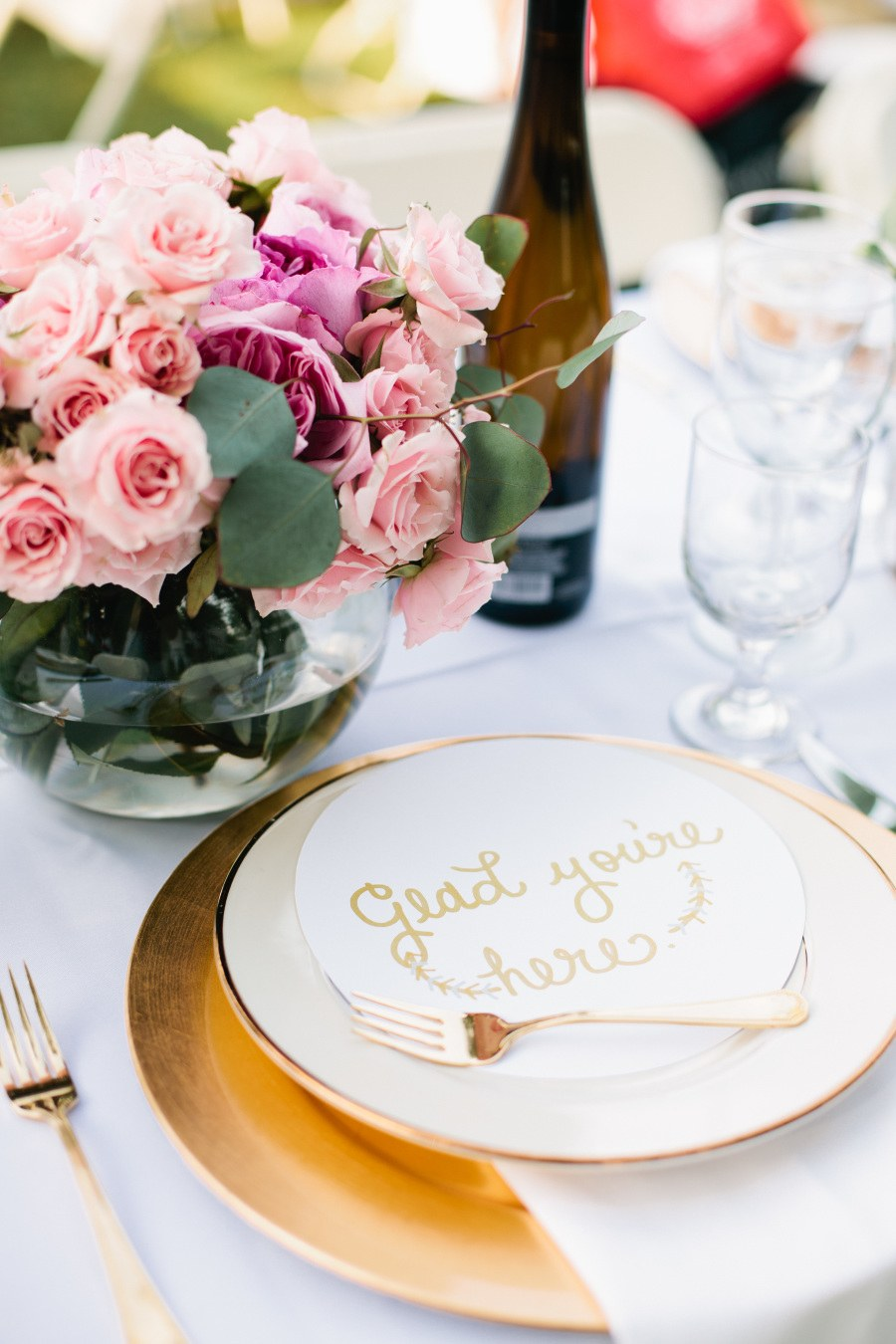 Nicole Lev Photography    Message on Guests' Plates  Instead of a letter, you could keep the sentiments short and sweet by writing a quick-but-thoughtful message to guests on each salad or bread plate using an edible-ink pen.