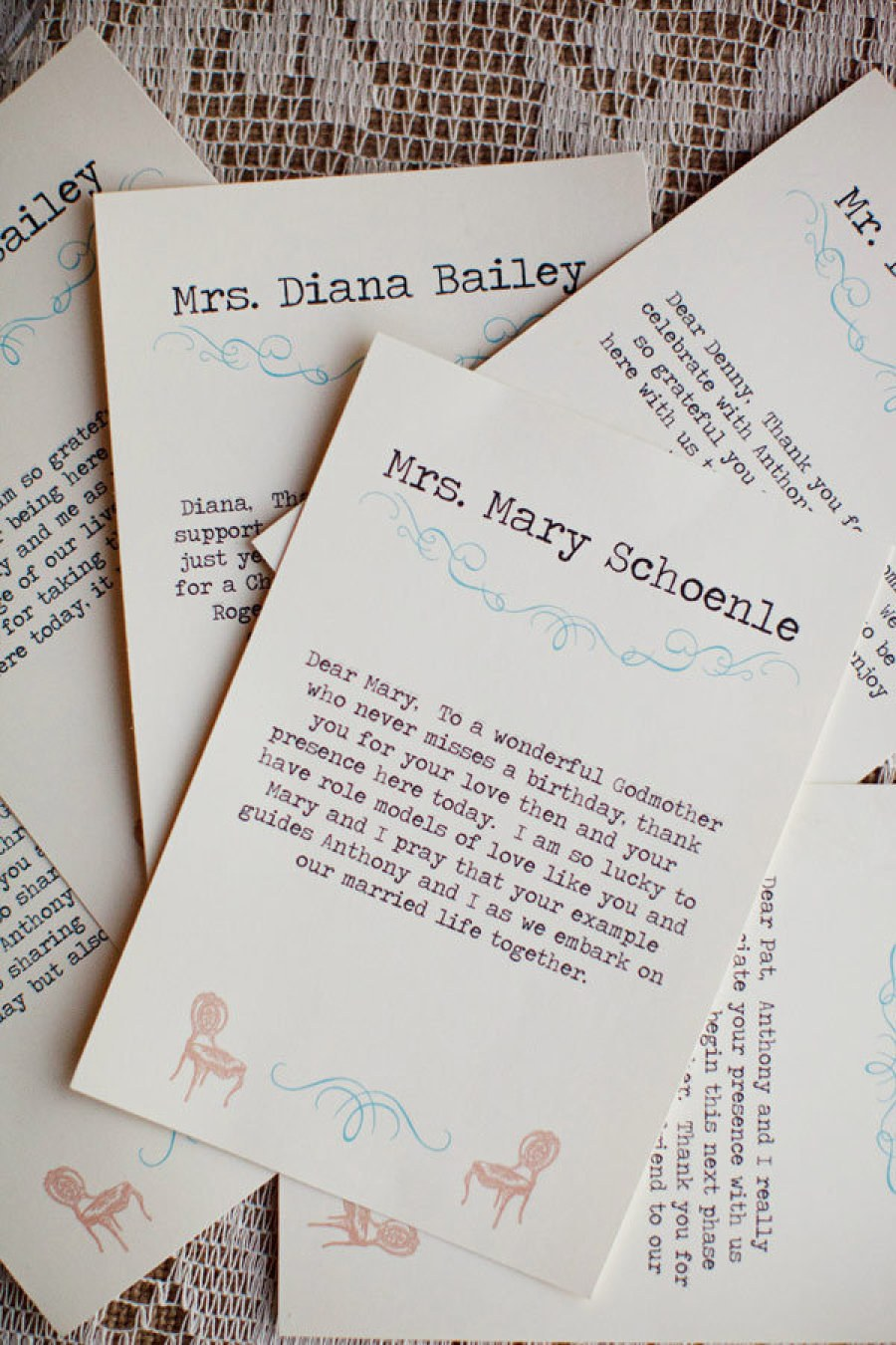 Bobbi Photo    Typed Notes for Every Guest  Once guests arrived at the reception, they located their dinner table and were greeted with place cards at each seat that also included a personal note from the couple, typed out on a vintage typewriter.