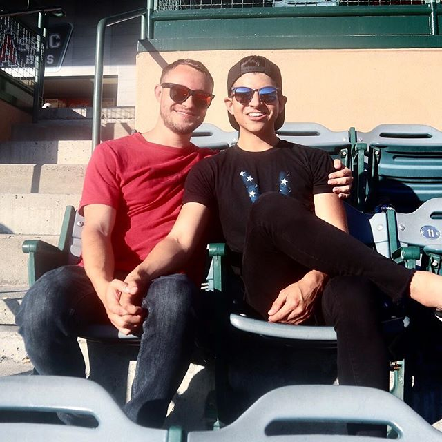 Just two devils hanging out at an Angels game 😈 Don't know much (or anything) about baseball - but I do know I love hot guys in uniform 😏 #adventures #ootdmen #mensstyle #gay #lgbtpride #PrideMonth