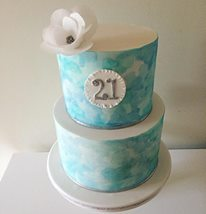 Blue Watercolour 21st Birthday Cake