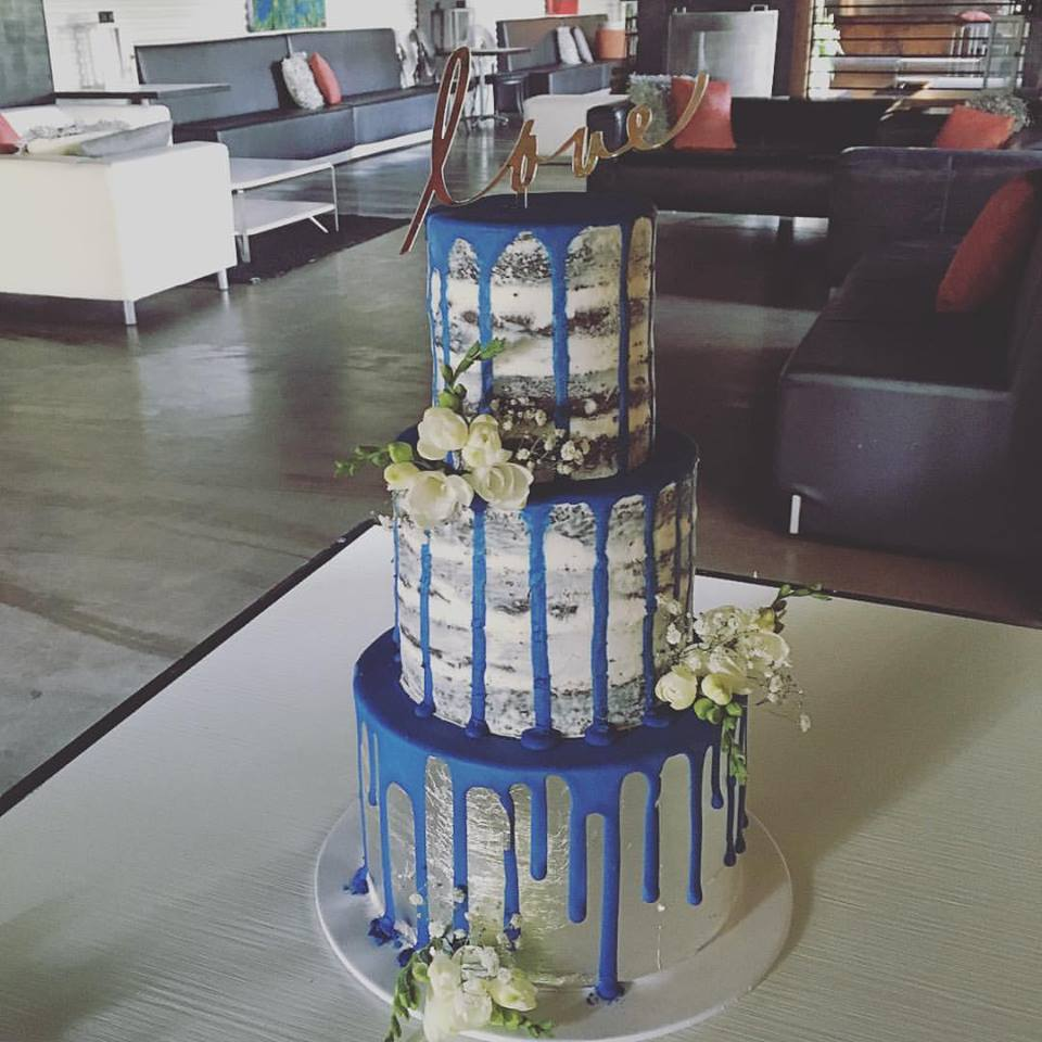 Naked Wedding Cake with Dark Blue Drip