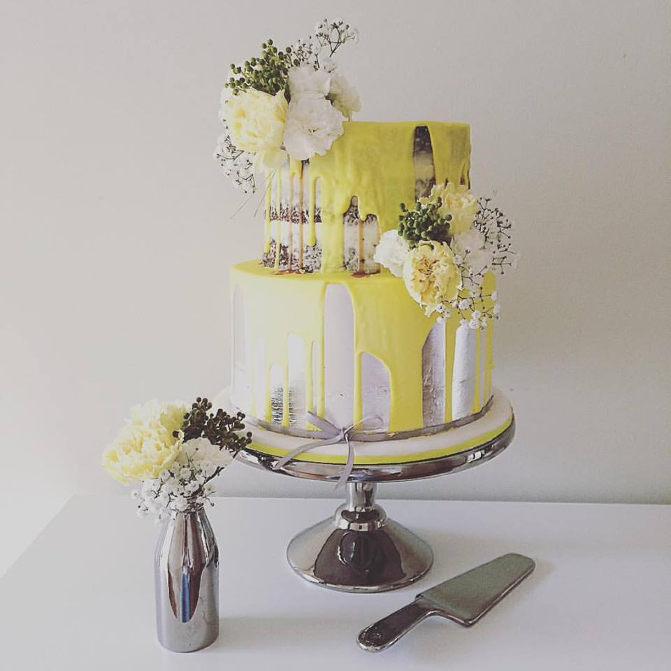 Naked Cake with Yellow Drip
