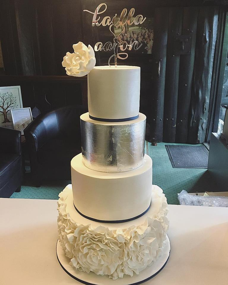 Silver Leaf & Ruffle Wedding Cake