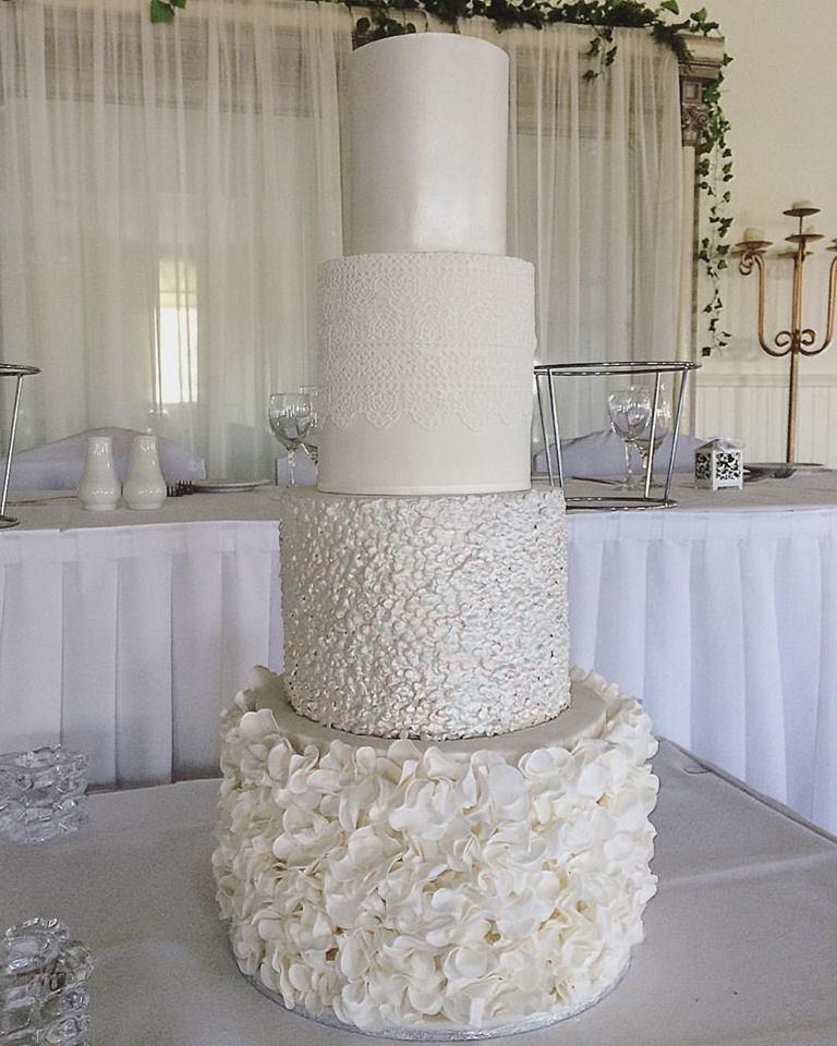 White Ruffle & Sequin Wedding Cake