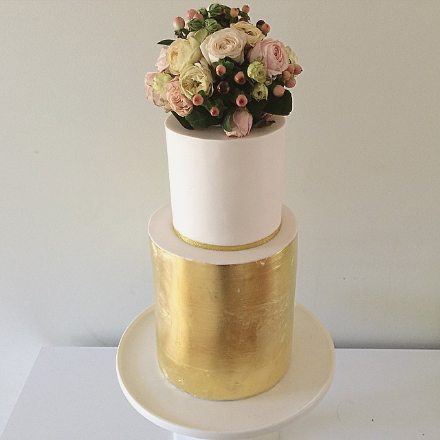 Gold Leaf & Flower Wedding Cake