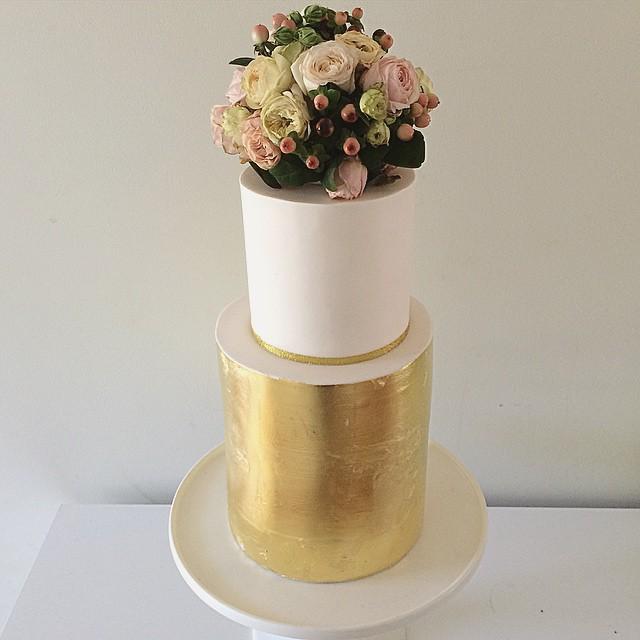 Gold Leaf & Flower Wedding Cake