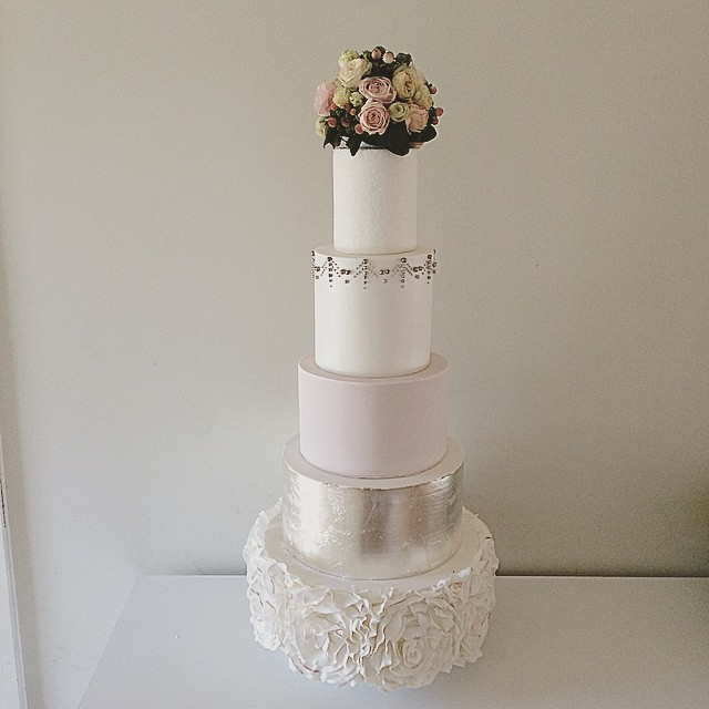 Tall Silver Leaf Wedding Cake