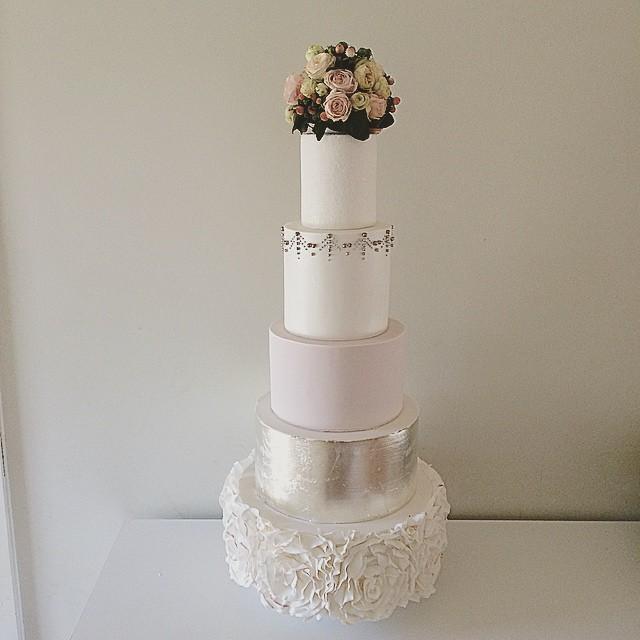 Tall Silver Leaf Wedding Cake