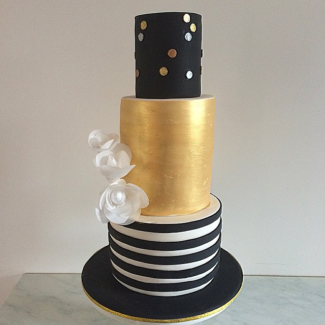 Gold & Black Wedding Cake