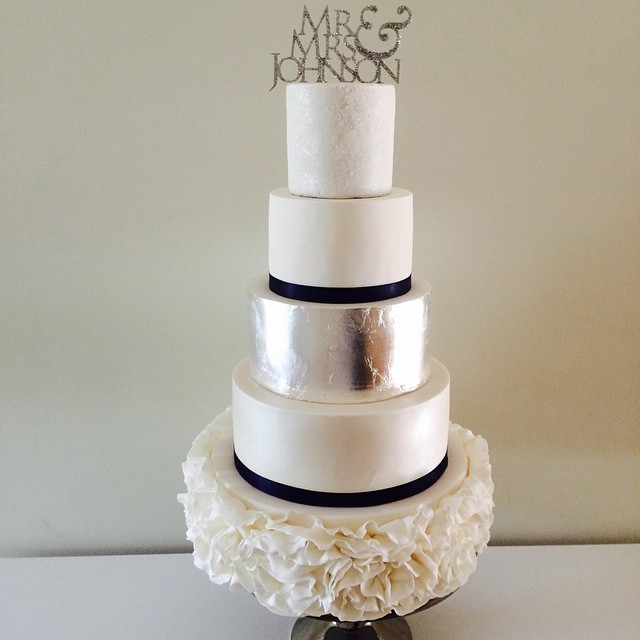 Silver Leaf & Ruffle Wedding Cake