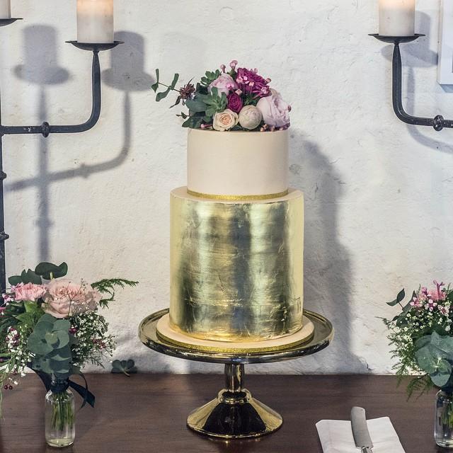 Gold Leaf Wedding Cake with Flowers