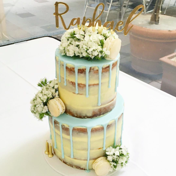 Naked Cake with Blue Drip