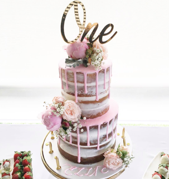 Naked Cake with Pink Drip & Flowers
