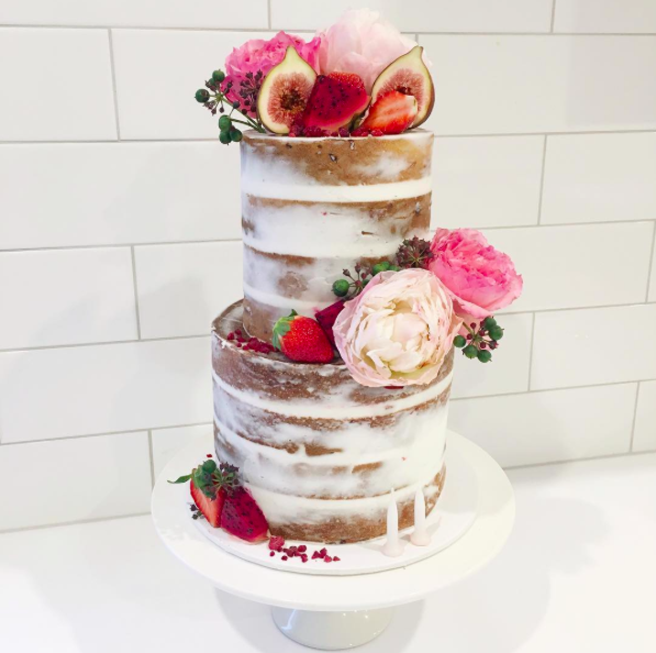 Naked Cake with Fresh Fruit & Flowers