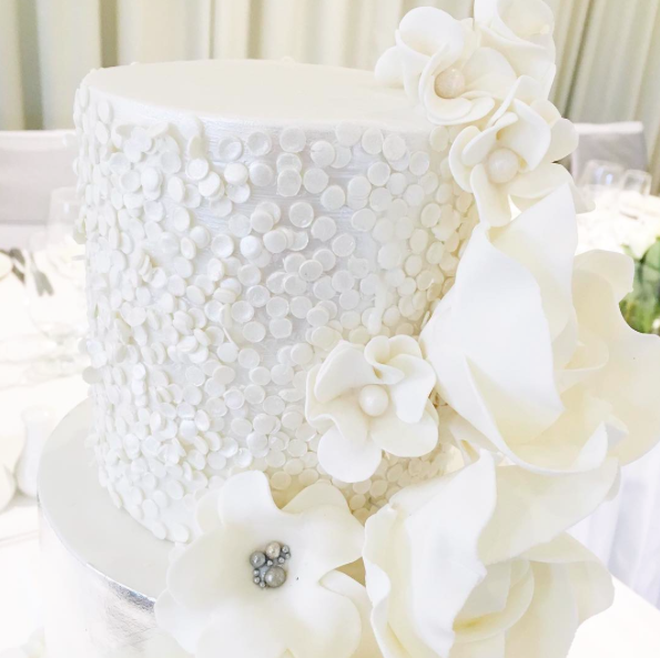 White Wedding Cake Close Up