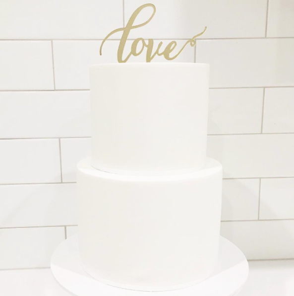 White Wedding Cake with Love Topper