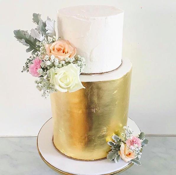 Copy of Gold Leaf & Flower Wedding Cake