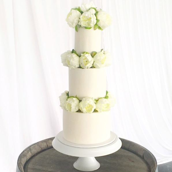 White Wedding Cake with White Peonies