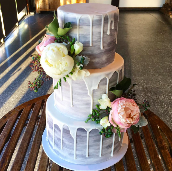 Grey Wedding Cake with Peonies
