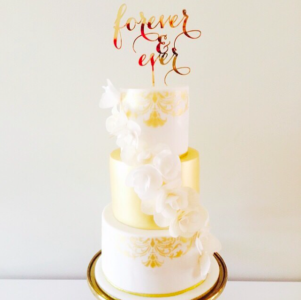 Gold Flower Wedding Cake