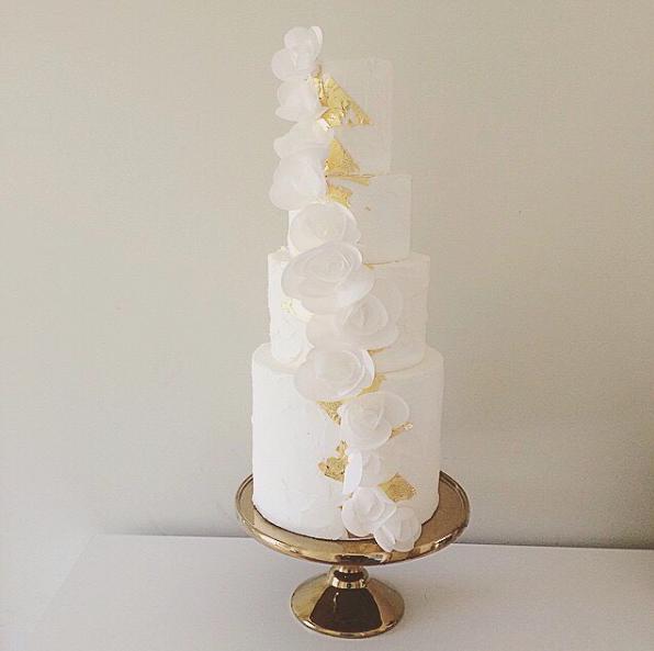 Gold & White Flower Wedding Cake
