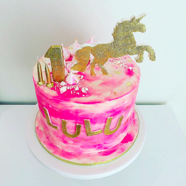 Bright Pink Watercolour Cake
